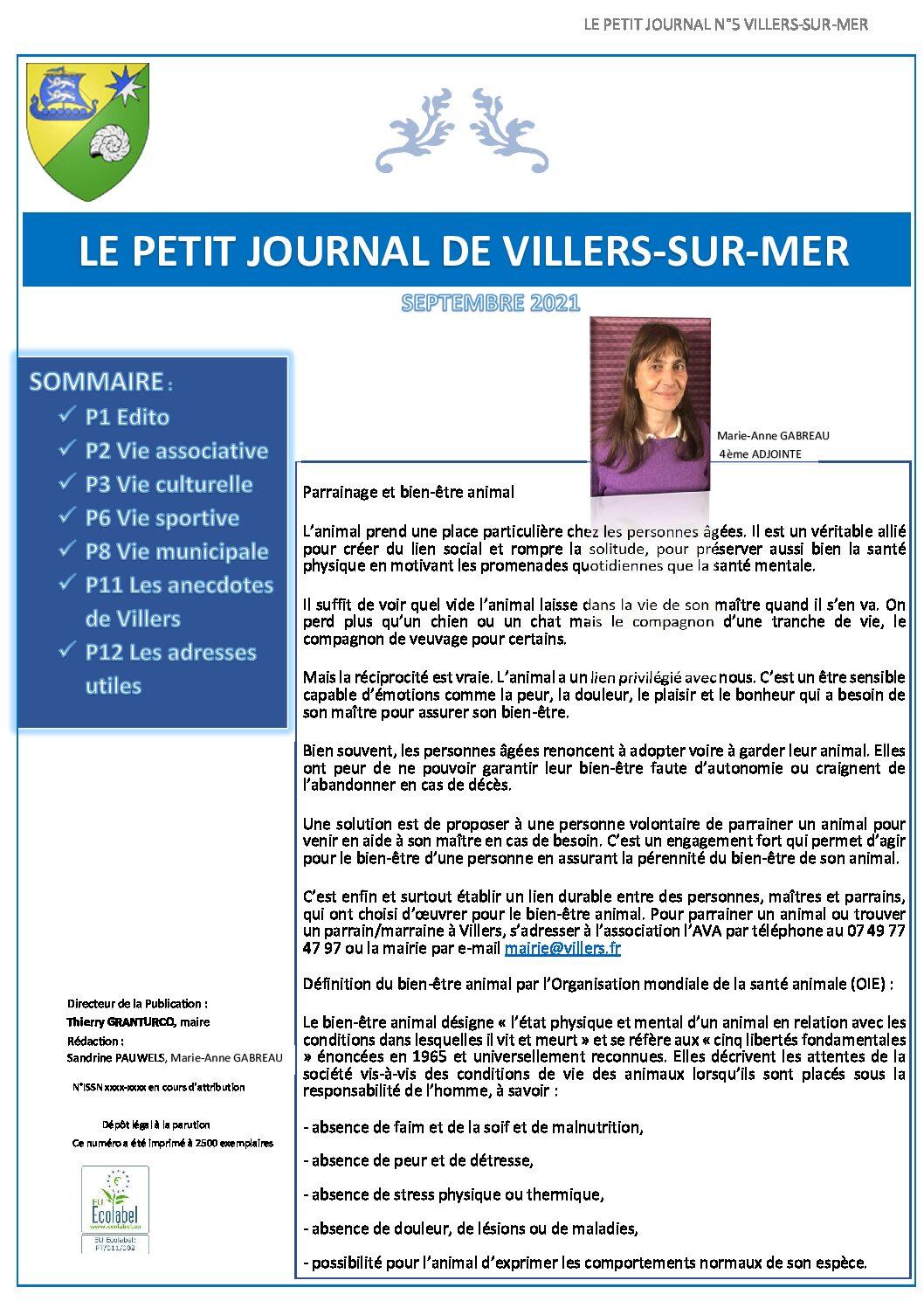 Le petit journal de Villers n°5 du mois de Septembre